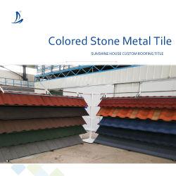 Nigeria populares metal recubierto de piedra de gránulos de teja de cascajos Aluminum-Zin Hoja techado