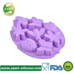 Heißes Verkauf FDA Silikon-Seifen-Form-Insekt formte der 8 Kammer-Kuchen-Form