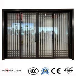 Cadre étroit de l'aluminium porte coulissante/couleur noire avec une décoration pour la maison