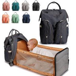 2020母オックスフォードの防水方法ベッドが付いている多機能のおむつ袋のおむつのための熱い販売の大きい容量の赤ん坊のおむつ袋
