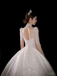 우아하고 고급스러움 높은 품질 무거운 베딩 긴 소매 웨딩 드레스 저녁 가운