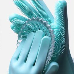 Home Magic 실리콘 식기 세척기 스크루버, 2 in 1 재사용 가능 고무 장갑, 내열성 주방 도구