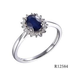 Diseño clásico Flor de Oro Blanco 10K con el anillo de gema y Diamon