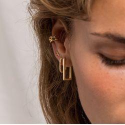 Minimale Schmucksachen 925 silbernes 18K Gold überzogene CZ große quadratische Huggie Band-Form-Schmucksache-Ohrringe