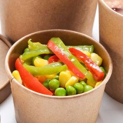 Großhandelsmehrfachverwendbarer Wegwerfzoll druckte Nahrungsmittelverpackung für Popcorn-Suppe-Eiscreme-gebratene Huhn-Weißbuch-Wanne mit Kappe