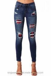 Nuevo diseño Jean/Stock mayorista Moda Mujer/Señoras Skinny estirar Logotipo personalizado/Marca de etiqueta privada de grueso Denim Jeans femeninos Ks200829-3 Rip