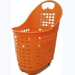 وسلة تسوق بلاستيكية من السوبرماركت مزودة بعجلات والتعامل مع خدمة التسوق سلة