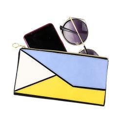 PU geométrica conjunta señoras bolso de plumas de embrague de gafas de sol Dama Bolso moneda cosméticos Monedero Monedero de cremallera Funda-2