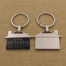 Hot Sale maison métalliques personnalisées trousseau avec boîte cadeau noire
