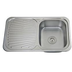 上の台紙下水管のボードが付いている単一ボールの台所の流し