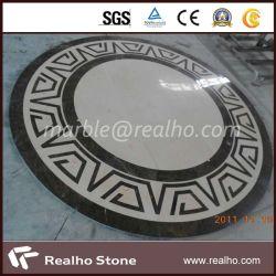 Marfil crema rotondo/medaglione di marmo scuro di Emperador per le mattonelle di pavimentazione