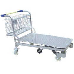 Haute qualité cinq roues chariot à outils standard en acier métallique plate-forme logistique de stockage Entrepôt Troley Panier chariot