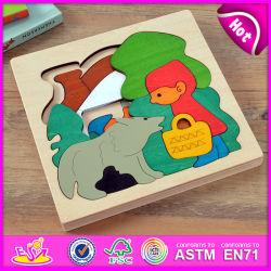 As crianças aprendem o bloco de madeira brinquedo Puzzle numa caixa de madeira, Bloco de cubos de madeira coloridos Puzzle melhor a história de madeira Puzzle para crianças W14A147