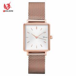 Relógios de quartzo quadrada mínima com Metal Milanese tira de malha #V960