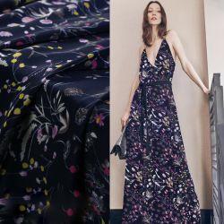 La impresión de la moda chino vestido de seda de Flor de tela