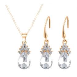 Nuevo Comienzo de la placa de oro/plata Conjunto de Joyas de acero inoxidable Colgante Collar y aretes hojas/Pulsera Mujer parte juegos de joyería