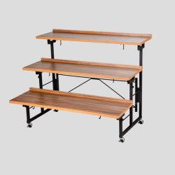 Розничный магазин супермаркет 3-Tier металлические складные деревянные фрукты и овощи дисплей для установки в стойку