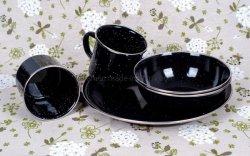 Esmalte esmalte vajilla cuenco/placa/Taza con llanta de acero inoxidable