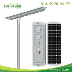 80W/100W120W Intelligent IP65 Outdoor tout en un panneau solaire intégré Rue lumière LED alimentées avec Motion capteur à distance des piles au lithium intégrée
