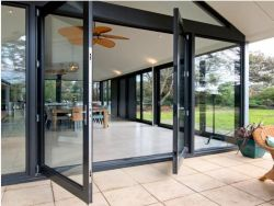 Тепловой вырваться из алюминия и алюминиевых стекла, стекол, поворотного механизма и скольжения на петлях, Складные двери