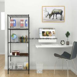 Китай прочный 5 яруса металлической проволоки книжном шкафу домашнего офиса для установки в стойку полка для хранения