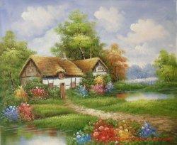 傑作のトマスKinkadeの庭の景色の油絵の再生