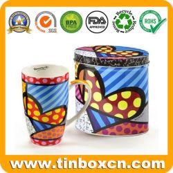 Caixa de embalagem de metal personalizada caneca oval para a promoção de estanho