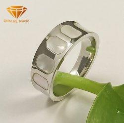 Jóias de jóias em aço inoxidável Shell Inlay Anel de jóias para homense mulheres2077 SSR