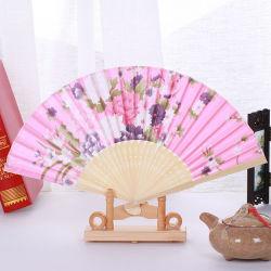 Dobragem japonês de desperdícios de seda chinesa a impressão de flores esculpidas oco de dobragem do ventilador do lado do Ventilador Esquerdo