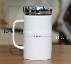 unbelegter weißer Beschichtung-Porzellan-Becher der Sublimation-450ml mit Spiegel-Schutzkappe
