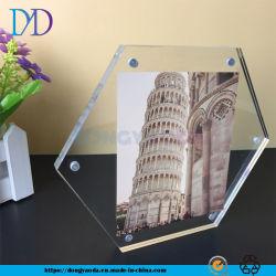 Kundenspezifischer kreativer Funktionseigenschaft-sechseckiger Acrylfoto-Rahmen-sechseckiger Diamant-magnetischer Wand-hängender Tisch