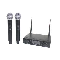 De draadloze 2 UHF Handbediende Microfoons van het Kanaal