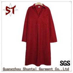 De rode/Zwarte Eenvoudige Toevallige Lange Kraag van het Overhemd van het Overhemd