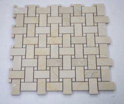 Decoração Basketweave Mármore Bege Pedra Piscina Mosaico de azulejos de parede