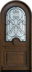 Oppein noble madera maciza de alta calidad de la puerta de entrada de rejilla de hierro