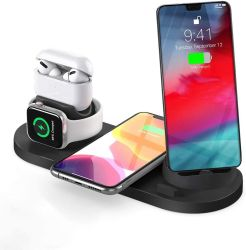 Carregador sem fio 7 em 1, vários dispositivos compatíveis com Base para carregamento rápido Suporte para iPhone 12 Airpods PRO Apple assistir 11 PRO/Max/XS/Xr Samsung adaptação.
