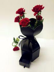Vakje van het Document van de Gift van de Bloem van het Vakje van de Vertoning van de bloem het Verpakkende met de Kleine Lade van het Lint