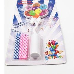 Inclusief kaarsen met vrolijke verjaardagen, kleurrijke kaarshouders