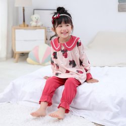 새로운 고품질 가을 아이들의 순수한 면 온난한 가정 착용 아기 의류의 내복 세트