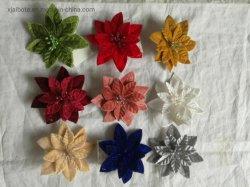 Горячая продажа искусственного моделирования бархата Xmas Poinsettias цветов с помощью прибора Clip для рождественские украшения