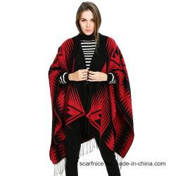 El Cashmere Poncho borlas capa geométrica de rojo y negro la mujer Cardigan Cabo invierno cálido estilo étnico, Envoltura de Pashmina Bufandas sobredimensionado