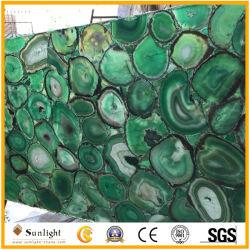 Lastre di pietra Polished della bella decorazione di lusso naturale blu/verde/agata rossa del Onyx