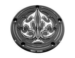 China ODM de fabricação de alumínio óxido preto 6061-T6 Tampa Derby maquinado CNC para motos Harley Davidson (S-094)