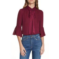 Volante de la camisa de campana mujer Georgette blusa