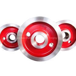 عجلة قضبان الرافعة الفولاذية ذات الشفة المزدوجة الخاصة بعربة المرفاع الفولاذية