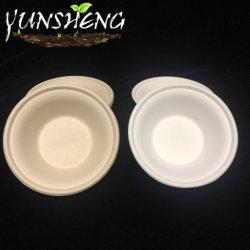وعاء مخصص للاستعمال مرة واحدة من الورق الأبيض مصنوع من قصب السكر أو Compostelle استمتع بتناول العشاء في قاع دائري من ورق لبقايا الخيزران البني الفاتح