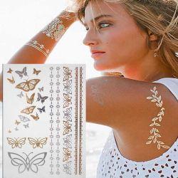 Para a fábrica de prata dourada Butterfly Corpo tatuagem temporária