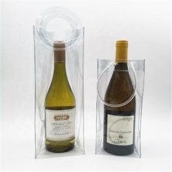 De aangepaste Zak van het Ijs van de Zak van de Fles van het Bier van de Zak van de Totalisator van de Wijn van pvc van het Embleem Koele Koelere Transparant met Handvat
