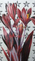 Fleur rouge art mosaïque pour les murs de l'image par Crystal (CFD228)
