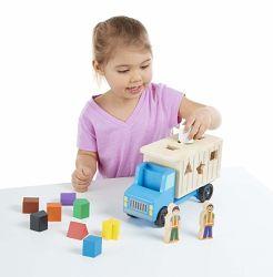 Shape-Sorting en bois jouet camion à benne, de la qualité de l'artisanat, 9 formes colorées et 2 chiffres de jeu